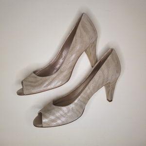 ANTONIO MELANI metallic zebra print peeptoe heels